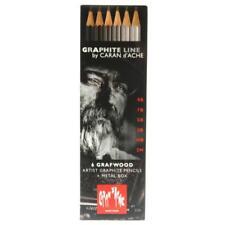 CARAN D'ache 6 X Graphite Line Artist Graded Shading Pencils Grafwood Metal Set