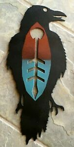 Raven Metal Wall Art Native SW Design Hand Painted Black, Turquoise, Red, Gift