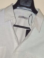 NWT 7 For All Mankind Two-Tone Cotton Knit Long Sleeve Button-Front Shirt Sz. M