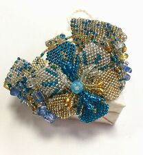 Bracelet Beaded Wide Guatemalan Adjustable Floral Style Handmade Blue Colours