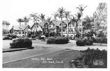 Del Mar California Hotel Street View Real Photo Antique Postcard K29978