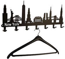 Wandgarderobe New York Skyline - Flurgarderobe USA, Garderobe 58cm schwarz