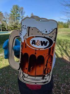 OLD VINTAGE 1960'S A & W ROOT BEER PORCELAIN ADVERTISING SIGN SODA GAS & OIL