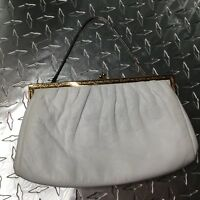 Etra Vintage Ivory Leather Gold Closure Silver Strap Clutch Hand Bag Size Small