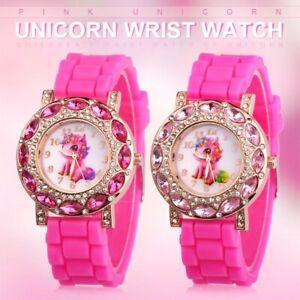 Girls Unicorn Analog QUARTZ Watch Silicone Strap Watches Kids Children's Gifts