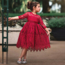 Toddler Kids Baby Girls Lace Flower Princess Tulle Party Pageant Dresses Clothes