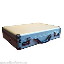 "Silver Aluminum Laptop Breif Case for 15-17"" Notebook Storage Carry Box"