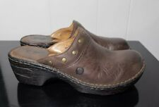 Born Leather Brown Wedge Platform Clogs Mules Womens Shoe Size 7