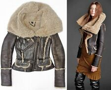 Burberry Prorsum Brown Leather Shearling Fur Aviator Collar Jacket US 8 IT 42