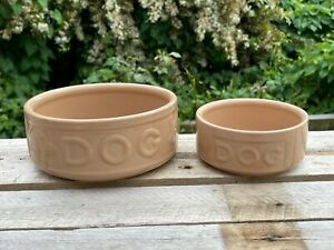 2x Mason Cash Ceramic Pet Bowls Dog Food & Water Dish <D73 H1