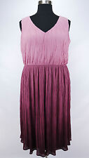 PRETTY LANE BRYANT PLUS SIZE PINK PURPLE SLEEVELESS PLEATED LINED DRESS Sz 20