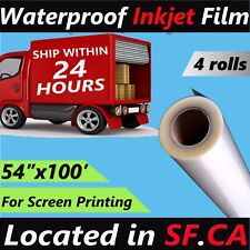 "Waterproof Inkjet Transparency Film for Fabric Screen Printing 4 Rolls,54""X 100'"