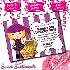 Personalised Invitations Invites Birthday Party Kids Girl Pirate
