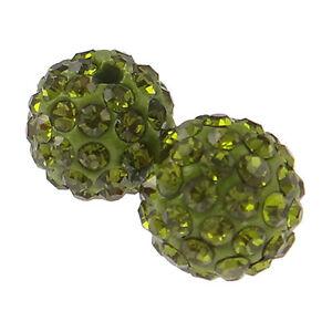 20 Perles Strass en argile (olive) Haute Qualité +/- 65 strass par perles 10 mm