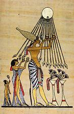 Ägypten Papyrus-Bild 32 x 16 cm -  Huldigung dem Sonnengott