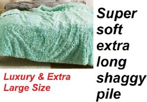 Turquoise super soft shaggy long pile fleece throw bed sofa cover XL NEW