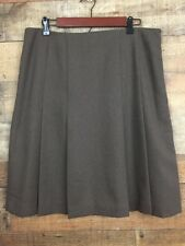 Apostrophe Stretch Womens Skirt Size 14 Brown Pleats Lined Career Work Dressy