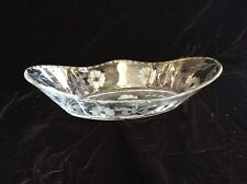 Copper Engraved 19th C. Victorian Hand Blown Glass Celery Dish