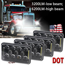 4pc 4x6 Inch LED Headlight High/Low Beam For Kenworth T800 T400 T600A W900 Truck