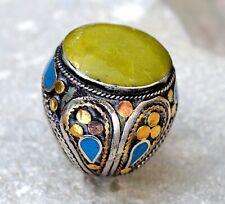 Green Jade Onyx Stone Ring Afghan Kuchi Tribal Carved Ethnic Jewelry Gypsy Boho