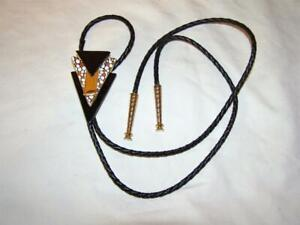Bolo Tie Geometric Enamel, Brass and Leather New from D.D. Details Free Shipping