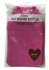 Natural Rubber 2 Litre Hot Water Bottle With Ribbed Fleece Pink Cover Warm Pom