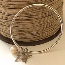 Chunky Sterling Silver Bangle with Silver Star and Freshwater Pearl, Hammered