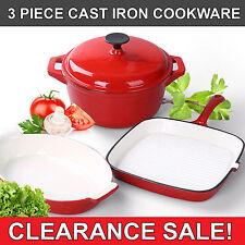 3 Piece GK Durable Cast Iron Cookware Set Grill Pan Oval Gratin Dish Saucepan