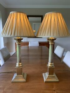 Pair of Vintage Laura Ashley Solid Brass Corinthian Column Lamps with Silk Shade