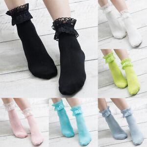 Women Girls Lace Short Ankle Socks Frilly Ruffle Cotton Lolita Princess Socks