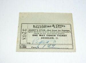 1939 Baltimore & Ohio Train Ticket Stub Coach To Piqua O No 3208