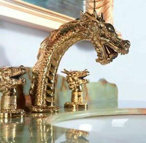 "Gold 3 Holes 8"" widespread bathroom dragon lavatory basin sink Faucet luxury tap"