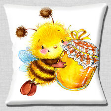 "Cartoon Bumble Bee Smiling 16""x16"" 40cm Cushion Cover Honey Pot White Yellow"