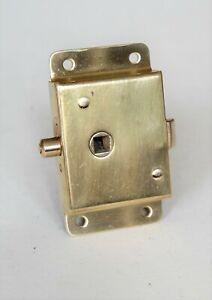 "Pressed Brass RIM PRIVACY / BATHROOM Latch with deadbolt lock 3 7/8"" x 2 1/4"""