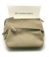 (2 pack) Burberry Large & Small Stone / Tan Pouches Travel Toiletry Makeup Bags