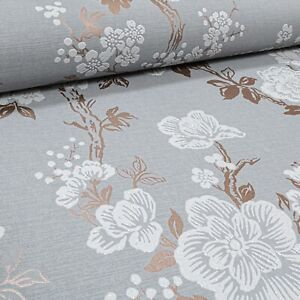 Grey Rose Gold White Glitter Floral Flower Wallpaper Textured Paste the Wall