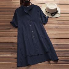 Plus Size Women Retro Half Sleeve Baggy Blouse Tunic Tops Autumn T Shirt Dress