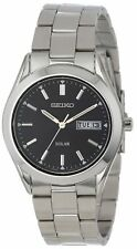 NEW Seiko $175 SNE039 Solar Day Date Black Dial Silver Tone Steel Men's Watch