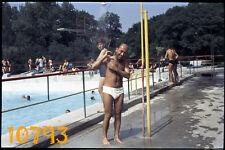 orig. vintage slide (dia)!  hairy gay under shower, swimsuit, beach 1960's,