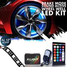 Truck Wheel Well LED Double Row Light Kit 4pc Custom Strip 22 Rim Music Brake M