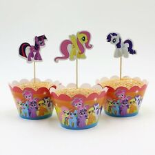 Kids  My Pony Birthday Party Cupcake Decoration 12x Wrappers + 12x Toppers UK