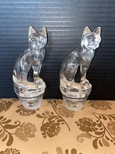 Two (2) Plastic Lucite Clear Cat Night Light Covers Vintage EUC