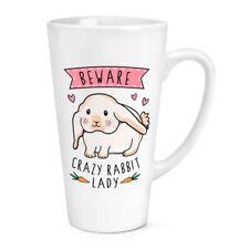 Ten cuidado con Conejo Loco Dama 17oz Grande Copa Taza de café con leche-Gracioso