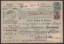 TURKEY, 1917. Incoming Parcel Card, Karlsruhe - Constantinople