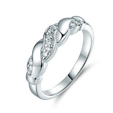 Sz9 Twist Rope Band Silver Gold Filled Diamond Women Lady Wedding Banquet Rings