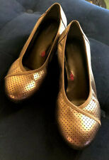 Ros Hommerson Evelyn 7.5 WW Pewter Metallic Slip On Ballet Comfort Wedge Mint!