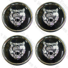 Jaguar Wheel Badge Set - Wheel Motif - 1988-2012 - Black/Silver - JLM20002 - K