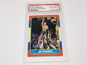 1986-87 Fleer Rookie RC #15 TOM CHAMBERS Auto Authentic PSA/DNA!!