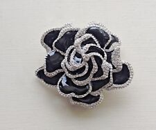 JOAN RIVERS Limited Edition Black Pave' Gardenia Flower Brooch Pin