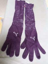 NEW Puma Ladies Purple & Sparkly Silver Knitted Dandle Long Gloves Size: S